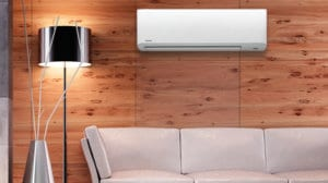 interior of home with couch and air conditioner